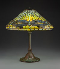 Tiffany Studios Leaded Glass and Patinated Bronze Dragonfly Table Lamp, circa 1910 Marks to shade: TIFFANY ST... (Total:...