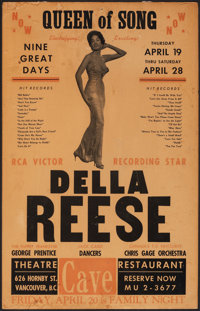 """Della Reese - Queen of Song (Late 1950s). Fine+. Canadian Concert Window Card (14"""" X 22"""")"""