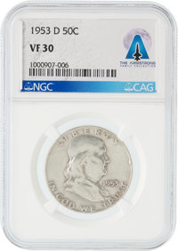 Coins: 1953-D 50¢ VF30 NGC Franklin Half Dollar Directly From The Armstrong Family Collection™, CAG Certified