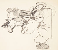 Steamboat Willie Mickey Mouse and Pete Animation Drawing by Ub Iwerks (Walt Disney, 1928)