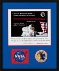 """Explorers:Space Exploration, Gene Cernan: Limited Edition """"The Last Words Ever Spoken..."""" Print, Astronaut Proof #4/5, Signed with Long Handwritten Quote,..."""