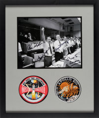 Apollo 13: NASA Mission Control Photo Signed by Gene Kranz, Chris Kraft, Gerry Griffin, and Glynn Lunney, Matted and Fra...