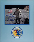 Explorers:Space Exploration, Gene Cernan Signed Apollo 17 Lunar Surface Color Photo Matted with an Embroidered Lion Brothers Mission Insignia Patch. ...