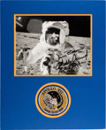 Explorers:Space Exploration, Apollo 12 Crew-Signed Lunar Surface Photo Matted with an Embroidered Mission Insignia Patch. ...
