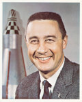 Explorers:Space Exploration, Gus Grissom Signed Business Suit Pose Color Photo, Full Name. ...