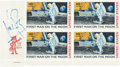 "Explorers:Space Exploration, Neil Armstrong Signed ""First Man On The Moon"" Plate Block. ..."