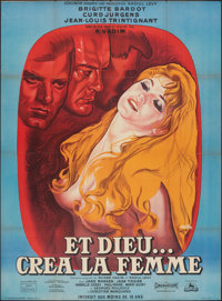 """And God Created Woman (Cocinor, R-1964). Folded, Fine/Very Fine. Full-Bleed French Grande (47"""" X 62.5"""") Rene P..."""