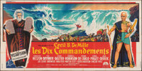 "The Ten Commandments (Paramount, 1956). Folded, Fine+. French Six Panel (Approximately 189"" X 94"") Roger Soubi..."