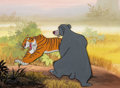 Animation Art:Production Cel, The Jungle Book Baloo and Shere Kahn Production Cel and Master Production Background (Walt Disney, 1967)....