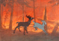 Animation Art:Production Cel, Bambi Bambi and Faline Production Cels over Concept Art by Maurice Nobel (Walt Disney, 1942)....