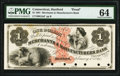 Obsoletes By State:Connecticut, Hartford, CT- Merchants & Manufacturers Bank $1 Feb. 1, 1861 as G2a Proof PMG Choice Uncirculated 64.. ...