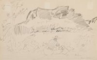 Milton Avery (American, 1885-1965) The Mountain, 1947 Pencil on paper 8-3/4 x 13-3/4 inches (22.2