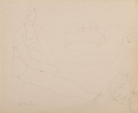 Milton Avery (American, 1885-1965) Stella Resting, 1947 Ink on paper 13-3/4 x 16-3/4 inches (34.9