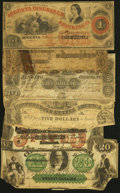 Obsoletes By State:Wyoming, A Half Dozen Well Used Obsolete and Confederate Notes. Fair or Better.. ... (Total: 6 notes)