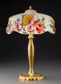 Lighting, Pairpoint Reverse-Painted Glass and Metal Puffy Lamp, circa 1920. Marks to base: PAIRPOINT, P, C3066. ...