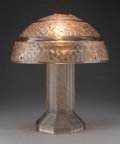Lighting, R. Lalique Glass Saint-Vincent Table Lamp with Sepia Patina, circa 1926. Marks to ...
