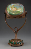 Lighting, Tiffany Studios Favrile Glass and Bronze Turtleback Desk Lamp, circa 1910. Marks: ...