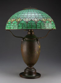 Tiffany Studios Leaded Glass and Bronze Pomegranate Table Lamp, circa 1910 Marks to shade: TIFFANY STUDIOS, N... (Total:...
