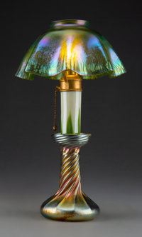 Tiffany Studios Favrile Glass Candlestick Lamp, circa 1910 Marks to shade: L.C.T Marks to base: L. C. T. Favrile ... (To...