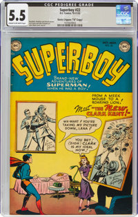 "Superboy #22 Davis Crippen (""D"" Copy) Pedigree (DC, 1952) CGC FN- 5.5 Cream to off-white pages"