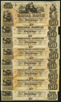 Obsoletes By State:Louisiana, New Orleans, LA- New Orleans Canal and Banking Co. $50 18__, Eight Remainders About Uncirculated to Crisp Uncirculated.... (Total: 8 notes)