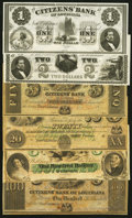 Obsoletes By State:Louisiana, New Orleans, LA- Citizens' Bank of Louisiana $1; $2; $5; $20; $100 (2) 18__ Remainders Extremely Fine-About Uncirculated o... (Total: 6 notes)