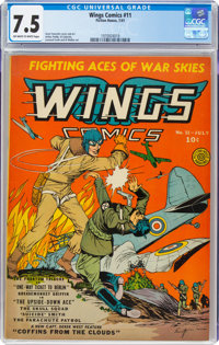 Wings Comics #11 (Fiction House, 1941) CGC VF- 7.5 Off-white to white pages