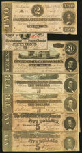 Confederate Notes:1863 Issues, T61 $2 1863 Very Good;. T63 50 Cents 1863 About Uncirculated;. T67 $20 1864 About Uncirculated;. T68 $10 1864 Two ... (Total: 7 notes)