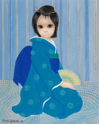 Margaret Keane (American, b. 1927) Green Against Blue, 1981 Oil on canvas 20 x 16 inches (50.8 x