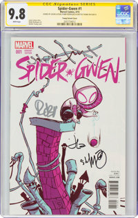 Spider-Gwen #1 Young Variant Cover - Signature Series: Skottie Young and Others (Marvel, 2015) CGC NM/MT 9.8 White pages...