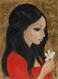 Paintings, Margaret Keane (American, b. 1927). Young Woman with White Flower, 1975. Oil on canvas. 24 x 18 inches (61.0 x 45.7 cm)...