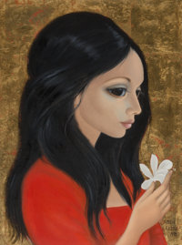 Margaret Keane (American, b. 1927) Young Woman with White Flower, 1975 Oil on canvas 24 x 18 inch