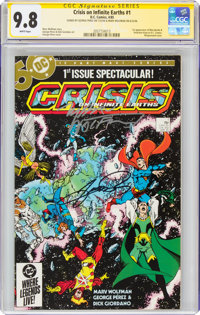 Crisis on Infinite Earths #1 Signature Series: George Perez and Marv Wolfman (DC, 1985) CGC NM/MT 9.8 White pages