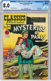 Classics Illustrated #44 Mysteries of Paris - First Edition 1A (Gilberton, 1947) CGC VF 8.0 White pages