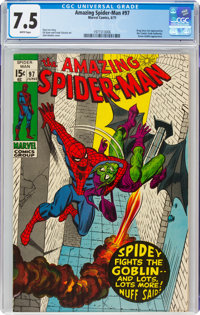 The Amazing Spider-Man #97 (Marvel, 1971) CGC VF- 7.5 White pages