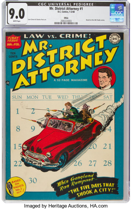 Mr. District Attorney #1 Ohio Pedigree (DC, 1948) CGC VF/NM 9.0 White pages....