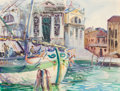 Works on Paper, Follower of John Singer Sargent (American, 1856-1925). The Grand Canal at Salute, Venice. Watercolor on paper laid on bo...
