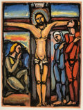 Prints & Multiples, Georges Rouault (French, 1871-1958). Christ on the Cross, 1936. Aquatint in colors on paper. 25-3/8 ...