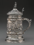 Silver & Vertu:Other Silver, A German Repoussé Silver Tankard, Dresden, Germany, mid-late 19th century . Marks: (crossed swords), (various) . 9-1/2 inche...