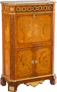 A French Louis XVI-Style Gilt Bronze Mounted Tulipwood, Sycamore, and Fruitwood Marquetry Secrétaire à Aba...