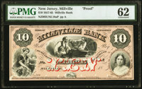 Millville, NJ- Millville Bank $10 18__ as G10b as Wait 1184 Proof PMG Uncirculated 62