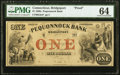 Bridgeport, CT- Pequonnock Bank $1 18__ G2c PMG Choice Uncirculated 64