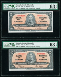 Canada Bank of Canada $2 2.1.1937 Pick 59c BC-22c Two Consecutive Examples PMG Choice Uncirculated 63 EPQ. ... (Total: 2...