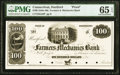 Obsoletes By State:Connecticut, Hartford, CT- Farmers and Mechanics Bank $100 18__ as G36 Proof PMG Gem Uncirculated 65 EPQ.. ...