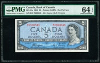 """Canada Bank of Canada $5 1954 Pick 68a BC-31a """"Devil's Face"""" PMG Choice Uncirculated 64 EPQ"""