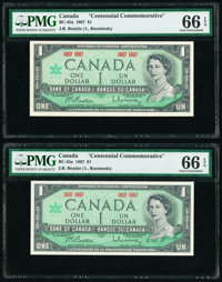 Canada Bank of Canada $1 1867-1967 Pick 84a BC-45a Commemorative Two Examples PMG Gem Uncirculated 66 EPQ. ... (Total: 2...