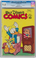 Golden Age (1938-1955):Cartoon Character, Walt Disney's Comics and Stories #66 (Dell, 1946) CGC VF/NM 9.0 White pages....