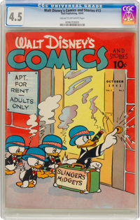 Walt Disney's Comics and Stories #13 (Dell, 1941) CGC VG+ 4.5 Cream to off-white pages