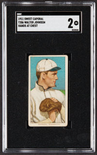 1909-11 T206 Sweet Caporal Walter Johnson (Hands at Chest) SGC Good 2