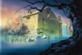 Animation Art:Painted cel background, The Secret of NIMH Old Mill Painted Background with Overlay (Don Bluth, 1982)....